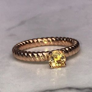 18k Rose Gold Plated/ Real Citrine Ribbed Ring